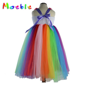 Flower Girls Long Dress Rainbow Color Costumes