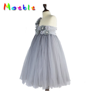 One Shoulder Gray Dress Flower Girl Costumes