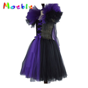 Fluffy Shoulder Black and Purple Long Dress Girls Costumes