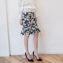 Elegant Floal Pattern Trumpet Medium Length Skirts