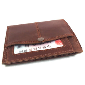 Mens Gentleman Coffee Brown Cowhide Real Genuine Leather Bifold Zipper Pocket Wallet