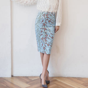 Floral Pattern Printed Medium Length Pencil Skirt