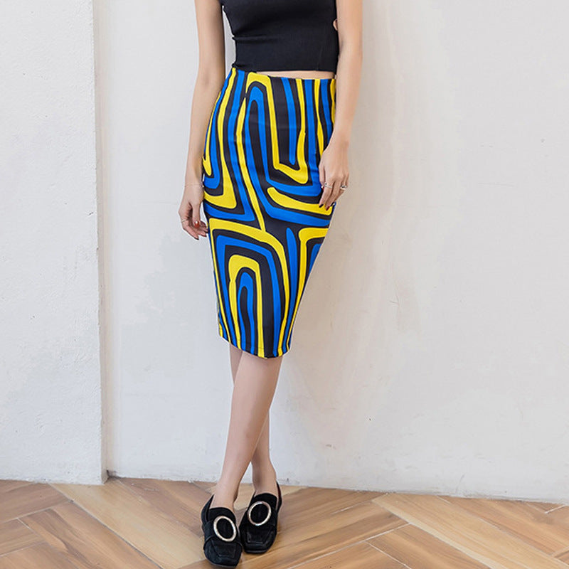 High Waist Lines Pattern Calf Length Pencil Skirts