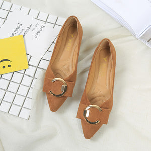Suede Buckle Detailed Comfort Flats Dress Pump Dress