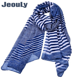 Stripes Pattern Long Voile Scarf for Women