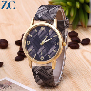 Wood Pattern Plate PU Band Watches for Daily Fashion