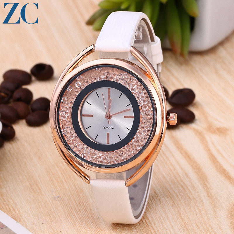 Dual Rings Plate Leather Band Casual Analog Watches for Daily Fashion