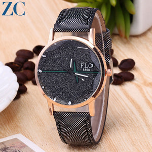 Cross Pattern Matte Plate PU Leather Band Analog Quartz Watches