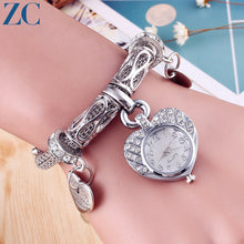 Rhinestone Detail Heart Shape Pendant Wristwatch for Women