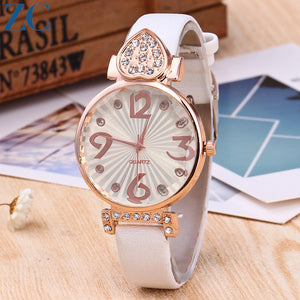 Big Digit Round Luster Plate with Leather Band Wristwatch
