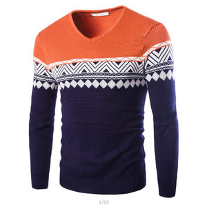 Men's Sweater Casual Youth Jacquard Pullover