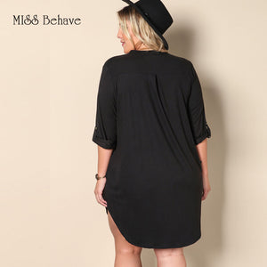 Black Loose Fitting V Neck Cuffed Sleeves Dress