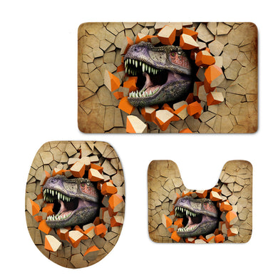 3Pcs 3D Animal Printed Bathroom Mat Thickened Flannel Bath Mat and Toilet Cover Soft Bath Rug Set