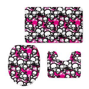 3Pcs Skeleton Printed Bathroom Mat Thickened Flannel Bath Mat and Toilet Cover Soft Bath Rug Set