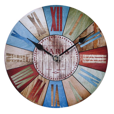 Retro Fashion Color Blocks Woods Pattern Designed Wall Clock