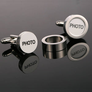 PHOTO Letters Designed Round Silvery Cuff Links