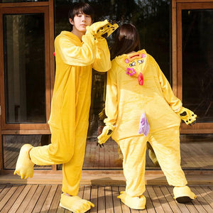 Flannel Pajamas Cartoon Animal Jumpsuits Chicken Costume for Women