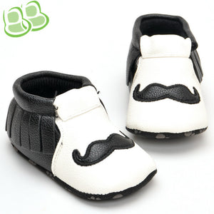 Black and White Tassel Beard Toddler Shoes Baby Boys 0-1 -year-old
