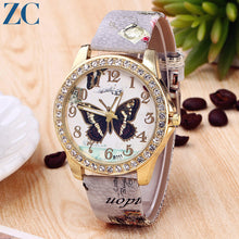 Butterfly Pattern Plate Floral Pattern Leather Band Analog Quartz Watch