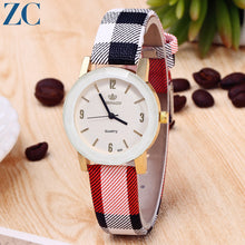 Round Small Plate Check Plaid Pattern Band Watches for Women