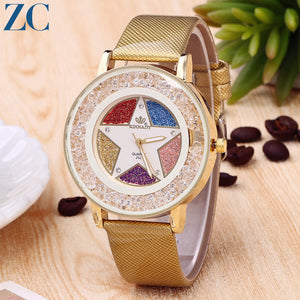 Rainbow Star Pattern Non Numerals Casual Analog Watch for Women