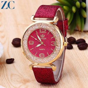 Analog Quartz Rhinestone Plate Twinkle Band Watches for Women