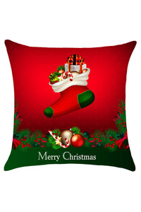 Red and Green Christmas Socks Gifts Pattern Pillow Case