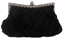 Satin Woven Bag Rhinestone Evening Bags Solid Color Clutch