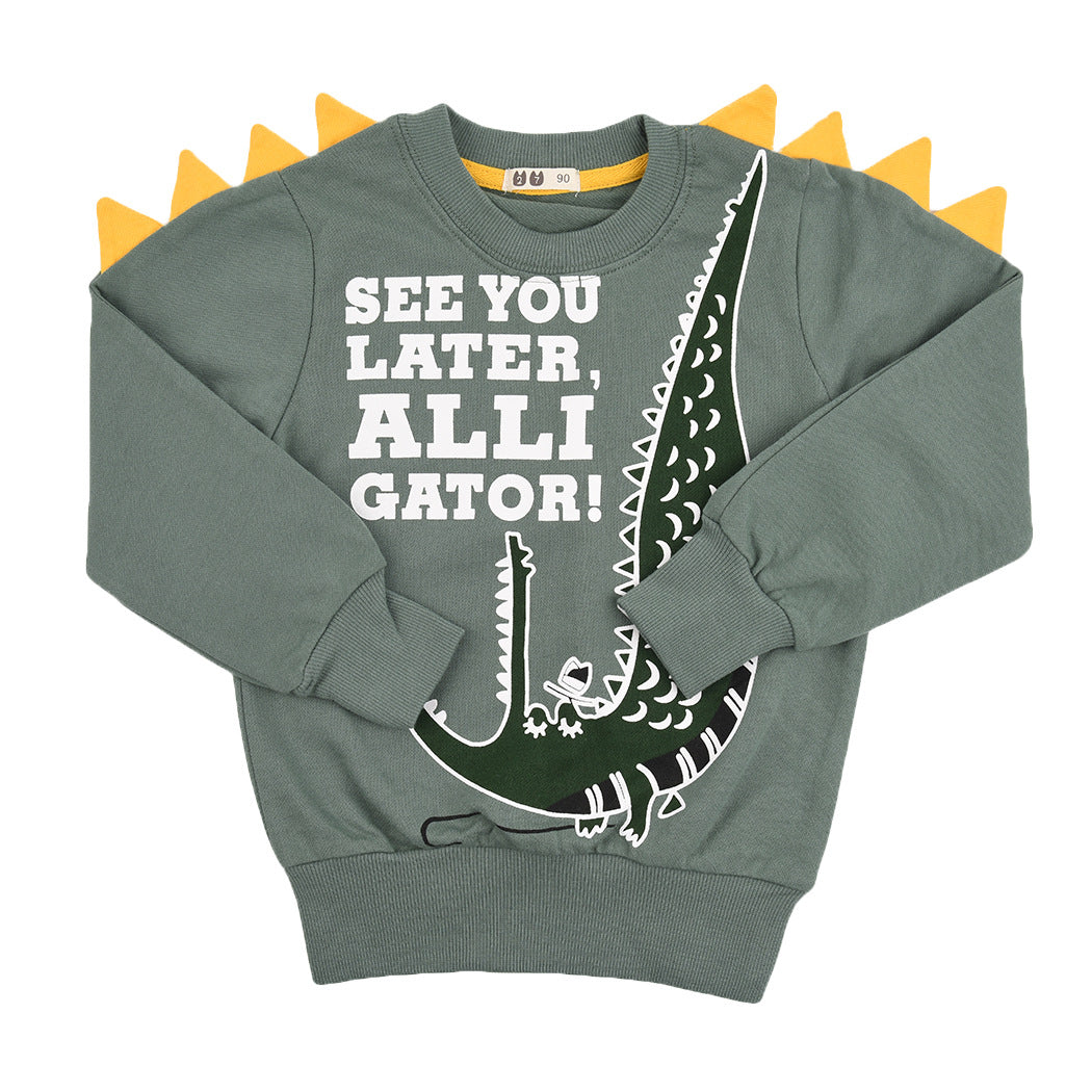 Alligator Design Boy's Cartoon Sweatshirt Top