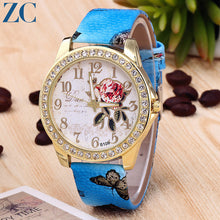Roses Plate Rhinestone Detail Round Plate Leather Band Casual Watches for Women