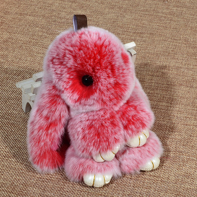 15cm Off Color Fur Fluffy Bunny Keychain Bag Charms