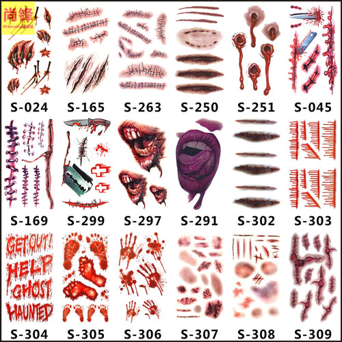 Body Art Stickers Removable Scar Pattern Temporary Tattoo (1 sheet)