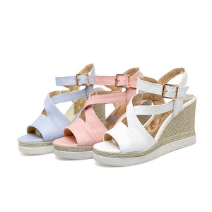 Summer White Wedges Platform Sandals for Women