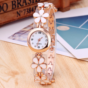 Elegant Small Plate Cute Flower Buckles Band Analog Quartz Watch
