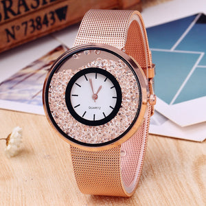 Rings Plate with Mesh Band Business Analog Quartz Watches for Women
