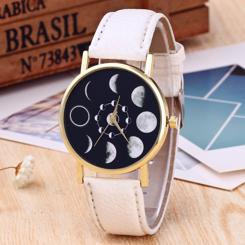 MOON Shape Monthly Digit Round Plate PU Leather Band Watch