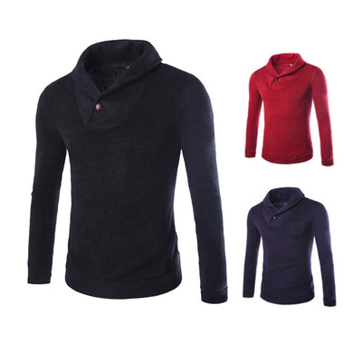 Solid Collar Lapel Collar Casual Sweater for Men