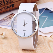Hollowed Out Transparent Plate Leather Band Wristwatch