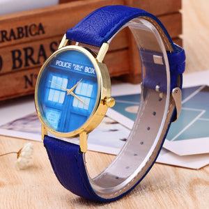 Doors and Boots Pattern Plate PU Leather Band Wristwatch