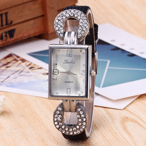 Square Small Plate with Leather Band Analog Quartz Wristwatch