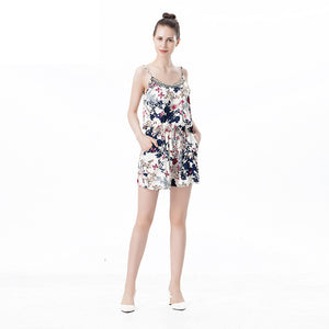 Floral Pattern Printed Spaghetti Straps Sexy Cute Jumpsuit