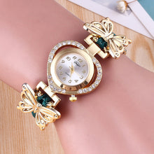 Heart Shape Rhinestone Detail Plate Bangle Watch for Women