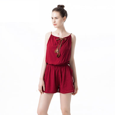 Spaghetti Straps Solid Color Short Jumpsuit with Bow Details