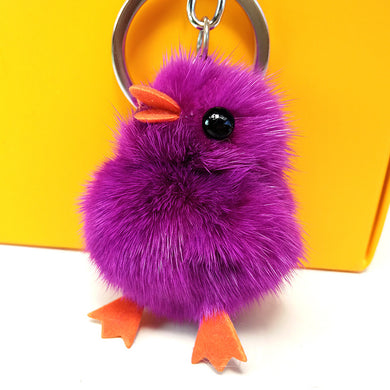 5cm Synthetic Mink Fluffy Duck Keychain Bag Charms