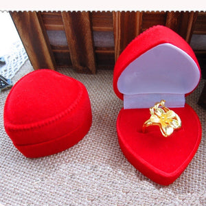 Heart Shape Red Velvet Ring Box