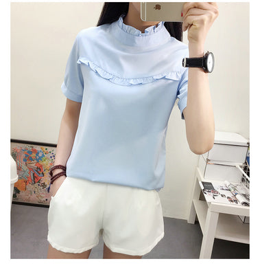 Women's Newest Short-Sleeved Blouse Shirts Fashion Hubble-Bubble Sleeve Basic Blouse Shirts Top Cloth