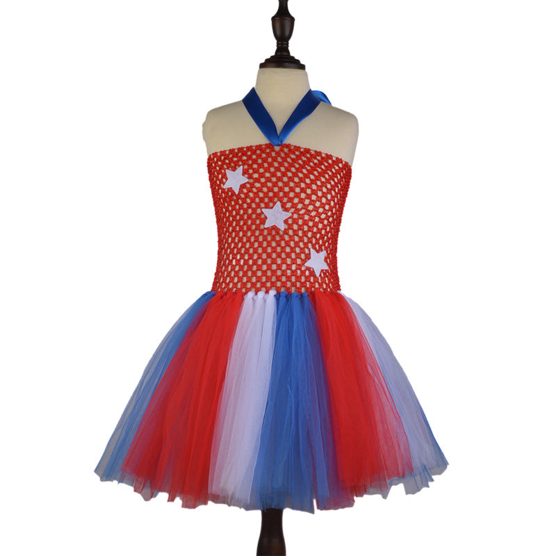 American Colors Fluffy Dress Halter Neck Jumpsuit Girls Cosplay Costumes