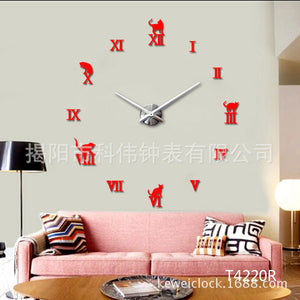 Fashion 3D Big Size Wall Clock DIY wall clock large stickers birthday clock Wall Unique gift Wholesale