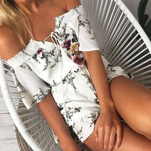 Sexy Off Shoulder Floral Pattern Printed White Jumpsuit