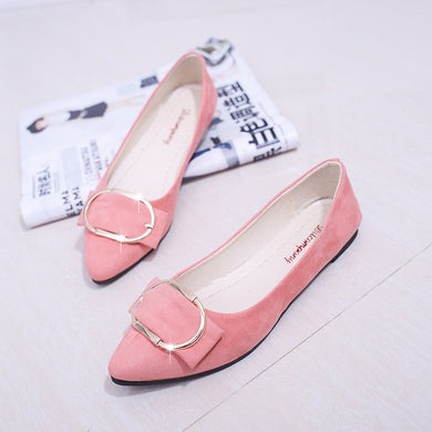 Pointed-toe Buckle Detailed Comfortable Suede Shoes